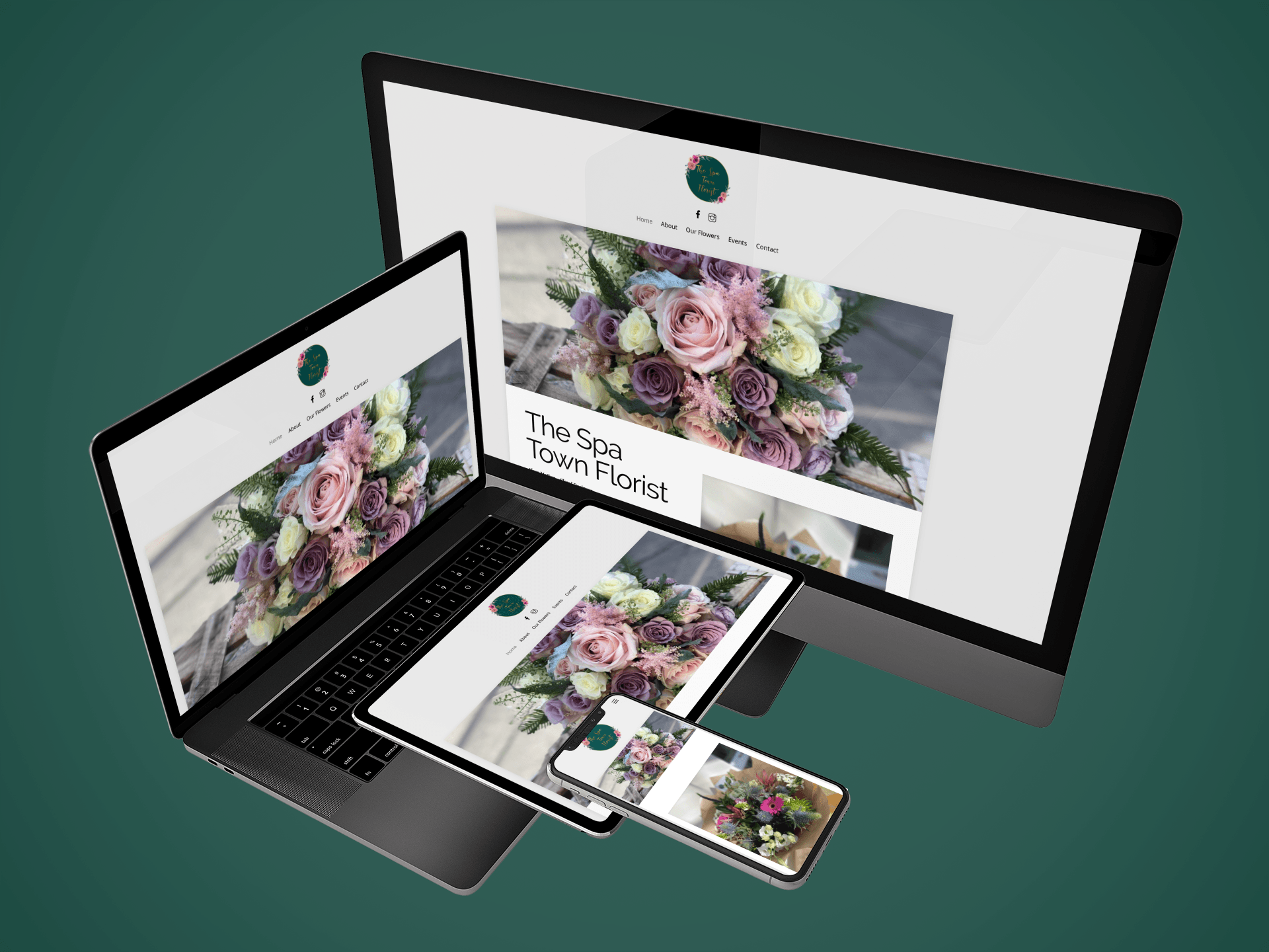 Website Design - The Spa Town Florist website on various devices